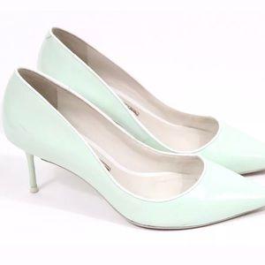 SOPHIA WEBSTER 38.5 Mint Green Blue Patent Heels